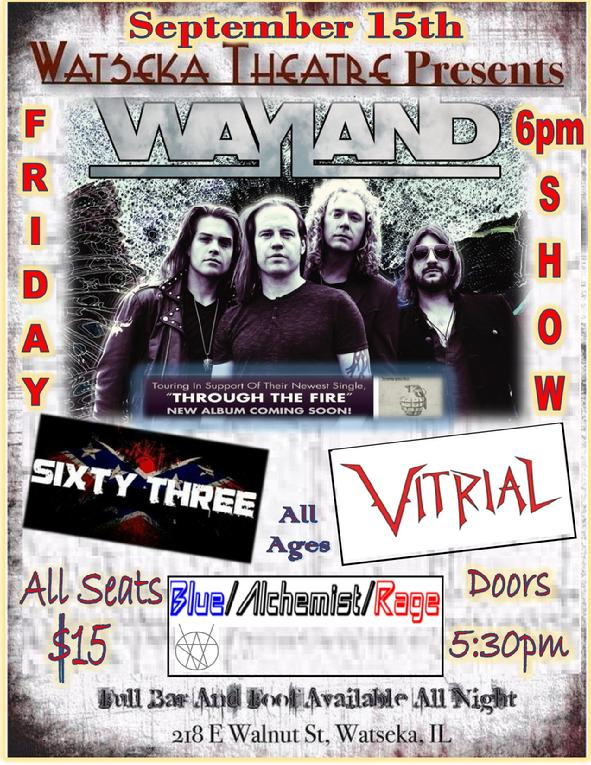 WAYLAND Rocks the Asylum at the Watseka Theatre Sept. 15, 2017 6:00pm